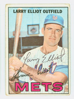 Larry Elliot AUTOGRAPH 1967 Topps #23 Mets CARD IS F/G, RND CRNS; SURF WEAR