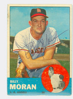 Billy Moran AUTOGRAPH 1963 Topps #57 Angels CARD IS F/G, SURF WEAR; CREASE, AUTO CLEAN  [SKU:MoraB701_T63BBk]
