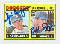 Bill Singer DUAL SIGNED 1967 Topps #12 Dodgers Rookies CARD IS VG/EX; AUTOS CLEAN