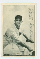 Walt Masterson AUTOGRAPH d.08 1953 Bowman Black #9 Browns CARD IS G/VG; CRN WEAR, AUTO WEAK