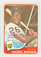 Gates Brown AUTOGRAPH d.13 1965 Topps #19 Tigers CARD IS VG; CRN WEAR, AUTO CLEAN