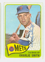 Charlie Smith AUTOGRAPH d.94 1965 Topps #22 Mets CARD IS CLEAN VG/EX