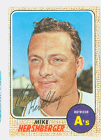 Mike Hershberger AUTOGRAPH d.12 1968 Topps #18 Athletics CARD IS CLEAN EX