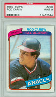 1980 Topps Baseball 700 Rod Carew California Angels PSA 9 Mint
