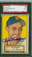 Dom DiMaggio AUTOGRAPH d.09 1952 Topps #22 Red Sox SGC/JSA CARD GRADES SGC10; TAPE ON REV,  SEV CRN WEAR