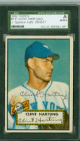 Clint Hartung AUTOGRAPH d.10 1952 Topps #141 Giants SGC/JSA CARD IS G/VG; CRN WEAR,AUTO CLEAN