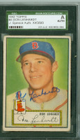 Don Lenhardt AUTOGRAPH d.14 1952 Topps #4 Red Sox Red Back SGC/JSA CARD IS G/VG; CRN WEAR,AUTO CLEAN