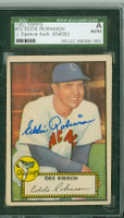 Eddie Robinson AUTOGRAPH 1952 Topps #32 White Sox Red Back SGC/JSA CARD IS G/VG; SL CREASE, AUTO CLEAN