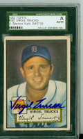 Virgil Trucks AUTOGRAPH d.13 1952 Topps #262 Tigers SGC/JSA CARD IS CLEAN VG; AUTO BOLD
