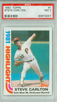 1982 Topps Baseball 1 Steve Carlton HL Philadelphia Phillies PSA 7 Near Mint