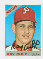 Ray Culp AUTOGRAPH 1966 Topps #4 Phillies CARD IS G/VG, SL CREASE