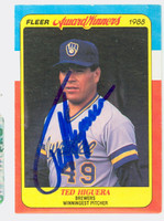 Ted Higuera AUTOGRAPH 1988 Fleer Award Winners Brewers 