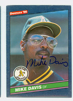 Mike Davis AUTOGRAPH 1986 Donruss #96 Athletics 