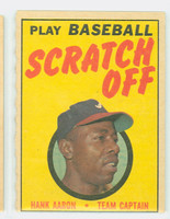 1970 Topps Scratch Off Baseball Hank Aaron Atlanta Braves Excellent