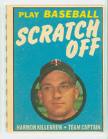 1970 Topps Scratch Off Baseball Harmon Killebrew Minnesota Twins Excellent to Mint