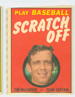 1970 Topps Scratch Off Baseball Tim McCarver St. Louis Cardinals Very Good to Excellent