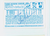 Tom Johnson AUTOGRAPH 1970s Kelloggs Back Signed 1978 Twins 