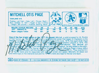 Mitchell Page AUTOGRAPH d.11 1970s Kelloggs Back Signed 1978 Athletics 