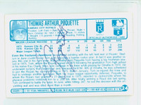 Tom Poquette AUTOGRAPH 1970s Kelloggs Back Signed 1977 Royals 