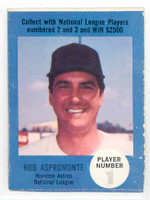1968 Atlantic Oil Bob Aspromonte Houston Astros Very Good