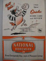 1960 Orioles Program vs Yankees (20 pg) Unscored Very Good [Lt wear on both covers; sl compact fold line, contents fine]