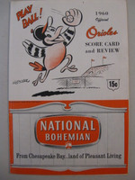 1960 Orioles Program vs Senators (20 pg) Scored Apr 21 Barber vs Lee (Was 6-5, HR Woodling, Dobbek) Good to Very Good [Heavy wear, creasing on covers; scored in red ink]