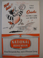 1960 Orioles Program vs Senators (20 pg) Scored Apr 19 Opening Day - Walker vs Ramos (Bal 3-2, HR Brooks Robinson) Very Good [Scored in red ink, compact fold, game info and WRT on cover, lt wear]
