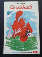 1960 Cardinals Scorecard June 6 vs Phillies Scored - Jackson vs Short (Stl 5-2) Excellent