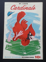 1960 Cardinals Scorecard May 28 vs Giants  Scored - Sadecki vs O'Dell (SF 8-0, Willie Mays 2 HRs) Excellent to Mint