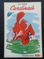 1960 Cardinals Scorecard July 4 GM 1 vs Dodgers Scored - Broglio vs Sandy Koufax (Stl 6-2, Koufax lasted 1/3 IN) Excellent