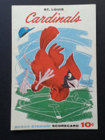 1960 Cardinals Scorecard Aug 7 GM 1 vs Reds Scored - Jackson vs Hook (Cin 18-4, Moryn HR, Lynch Grand Slam) w/Ticket Stub Excellent