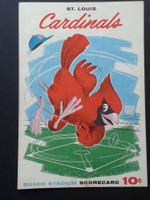 1960 Cardinals Scorecard Aug 7 GM 2 vs Reds Scored - Bob Gibson vs O'Toole (Stl 4-2) Excellent