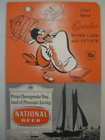 1961 Orioles Program vs Senators (28 pg) Unscored Very Good [Overall VG due to missing top right crn, ow near-mint]