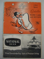 1961 Orioles Program vs Senators (28 pg) PART SCORED 3 INN Fair to Good [Scored in pencil for 3 INN; heavy wear along binding, contents fine]