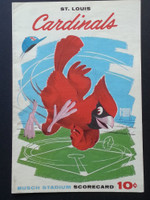 1961 Cardinals Scorecard July 17 GM 1 vs Cubs Scored - Simmons vs Cardwell (Stl  10-6) Excellent