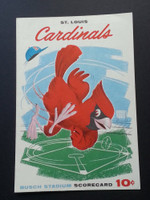 1961 Cardinals Scorecard April 28 vs Phillies Scored - Broglio vs Roberts (Stl 10-9 11 INN, Callison HR) Near-Mint