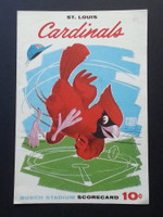 1961 Cardinals Scorecard August 27 vs Giants Scored - Jackson vs Marichal (Stl 6-0, Boyer HR) Excellent