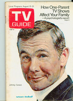1970 TV Guide August 15 Johnny Carson Wisconson edition Very Good to Excellent - No Mailing Label  [Cover wear, creasing and staple rust; contents fine]