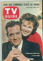 1960 TV Guide Mar 19 Perry Mason Southern Ohio edition Very Good - No Mailing Label  [Heavy bend along binding, toning on cover, contents fine]