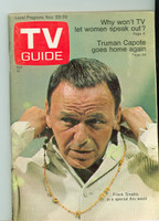 1968 TV Guide Nov 23 Frank Sinatra Cleveland edition Very Good to Excellent - No Mailing Label  [Sl loose at staples, wear and scuffing on cover; contents fine]
