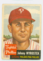 1953 Topps Baseball 79 Johnny Wyrostek Single Print Philadelphia Phillies Fair to Good