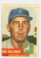 1953 Topps Baseball 97 Don Kolloway Philadelphia Athletics Fair to Poor