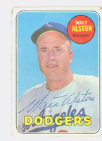 Walt Alston AUTOGRAPH d.84 1969 Topps #24 Dodgers CARD IS F/G; SL BENDS, AUTO CLEAN