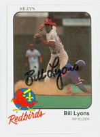 Bill Lyons AUTOGRAPH 1981 Rileys Louisville Redbirds 