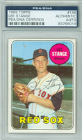 Lee Stange AUTOGRAPH 1969 Topps #148 Red Sox PSA/DNA BLUE SLIP; CARD IS CLEAN EX  [SKU:StanL1813_T69BBpa]