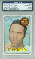 Zoilo Versalles AUTOGRAPH d.95 1969 Topps #38 Padres PSA/DNA BLUE SLIP; CARD IS G/VG; CRN WEAR