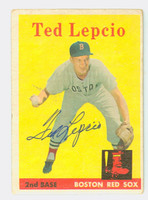 Ted Lepcio AUTOGRAPH 1958 Topps #29 Red Sox CARD IS F/G; CREASE  [SKU:LepcT264_T58BBV]