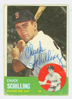 Chuck Schilling AUTOGRAPH 1963 Topps #52 Red Sox CARD IS F/G; CRN CRUSHES, AUTO CLEAN  [SKU:SchiC745_T63BBV]