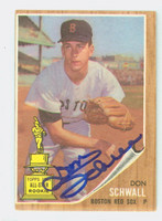 Don Schwall AUTOGRAPH 1962 Topps #35 Red Sox ROOKIE CARD IS VG/EX, OC S/S