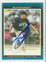 Sean Burnett AUTOGRAPH 2002 Bowman THICK STOCK VARIETY Pirates 